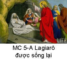 Suy Niệm Tin Mừng Chúa Nhật 5 MC A Bài 1-50 Lagiarô được sống lại
